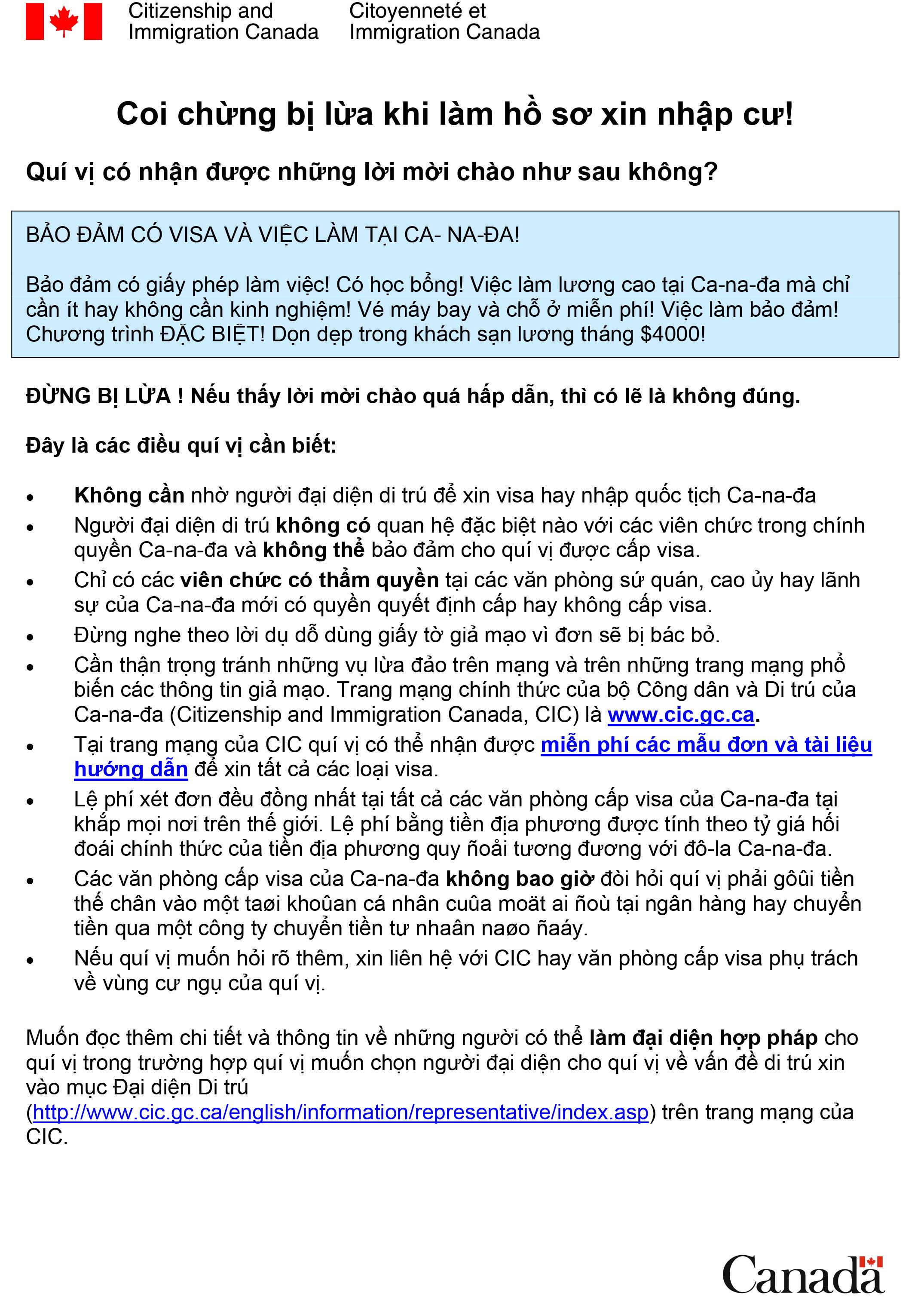 Cảnh báo lừa đảo từ CIC - Immigration Fraud Warning - Vietnamese